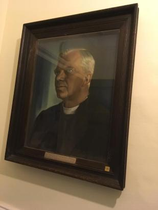This Portrait is displayed at Chichester City Council in North Street. The Plaque reads: DR GEORGE KENNEDY ALLEN BELL ~ Bishop of Chichester 1929-1958 ~ Honorary Freeman of the City. This portrait by ERIC KENNINGTON was presented to the City by the Bishop on the occasion of his retirement on 31st January 1958